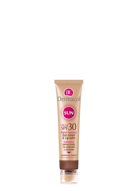 Dermacol - Sun Cream & Lip Balm SPF 30 - Voděodolný pleťový krém na opalování 2v1 SPF 30 - 30 ml + 3,2 ml